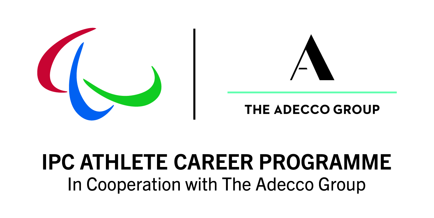 Banner showing IPC and Adecco logo with the text: IPC Athlete career programme in cooperation with Adecco Group.