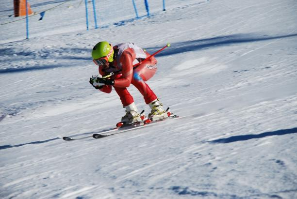 A picture of a man skiing.