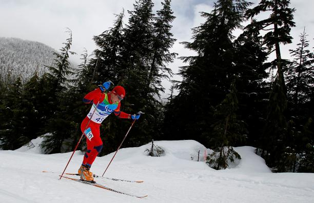 A picture of a man skiing