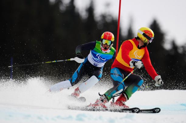 Jon Santacana Maiztegui of Spain and his guide Miguel Galindo Garces compete in Vancouver