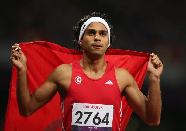 Mohamed Farhat Chida of Tunisia wins gold in the Men's 400m - T38 Final at the London 2012 Paralympic Games