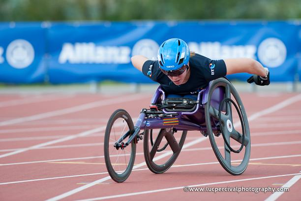 Great Britain's Hannah Cockroft on her way to a new 200m T34 world record in Nottwil, Switzerland in May 2014.