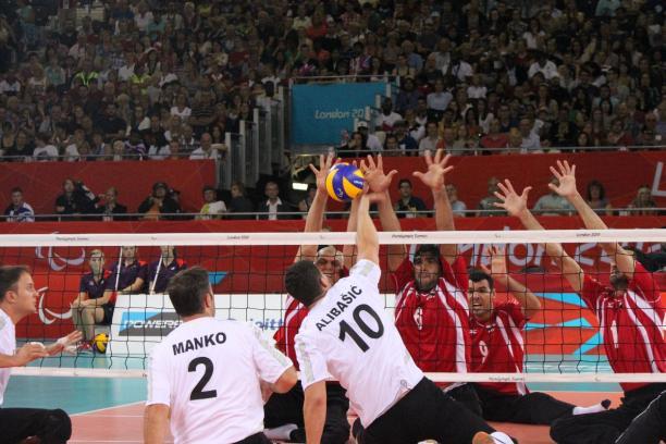 Safet Alibasic strikes the ball as Bosnia & Herzegovina beat Egypt at London 2012.