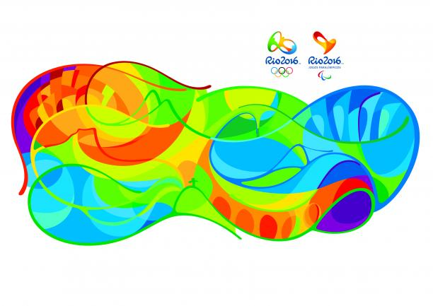 Swirly pattern of birghts colours depicting the landmarks of Rio.