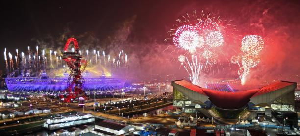 Fireworks during the closing ceremony of the London 2012 Paralympic Games.