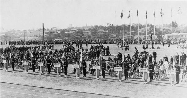 Countries lined up in Oda Field at the Tokyo 1964 Paralympics