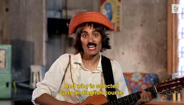 Women dressed like a man with a guitar and a moustache