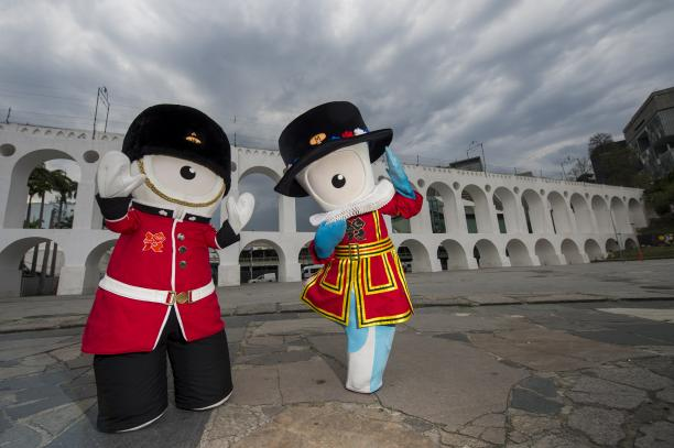 London 2012 mascots Mandeville and Wenlock visit the Rio district of Lapa