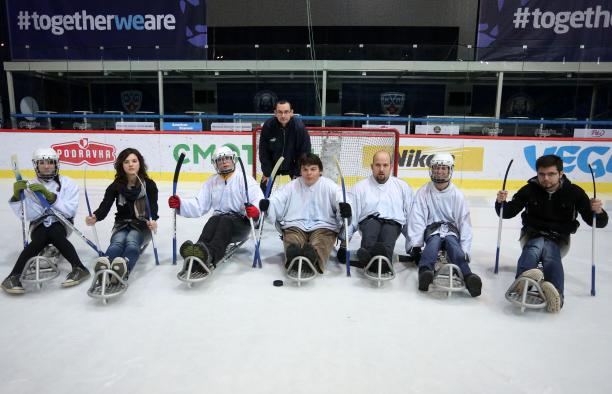 Seven people tried ice sledge hockey at a demonstration event organised by the Croatian NPC in December 2014.