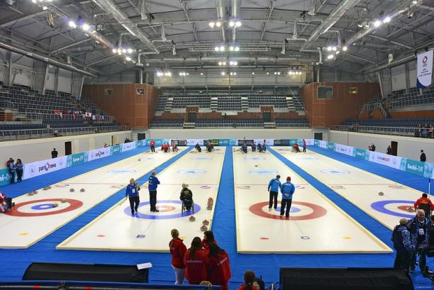 A picture of a sport arena from inside
