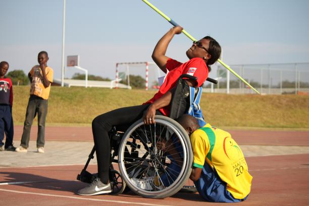 Athlete training at javelin during the IPC development camp in Zambia.