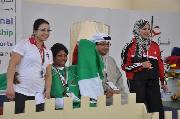 44Kg Women's podium at 4th FAZZA International Powerlifting Championship