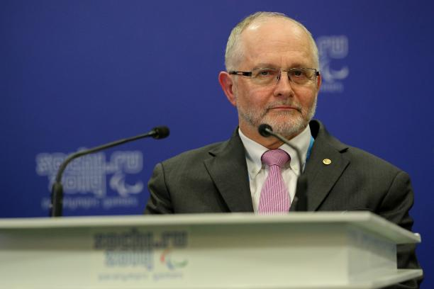Sir Philip Craven the President of the International Paralympic Committee speaks to the International Paralympic Committee Governing Board prior to the Opening Ceremony of the Sochi 2014 Paralympic Winter Games.