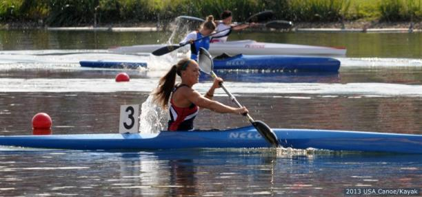 Women in canoe during a race