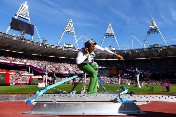 Safia Djelal of Algeria competes in the Women's Shot Put F57/58 final at the London 2012 Paralympic Games