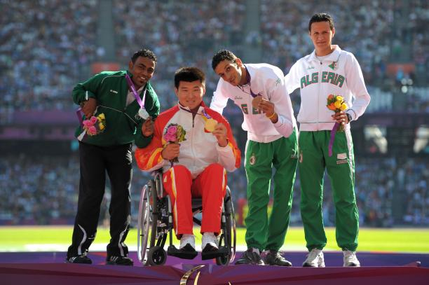 Saudi Arabia's London 2012 silver medallist Hani Alnakhli (left) set a new discus F33 world record at the 2015 IPC Ahletics Grand Prix in Tunis, Tunisa.