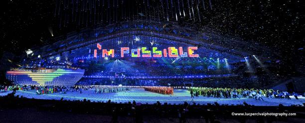 Panorama shot of the stadium during the Sochi Closing Ceremony