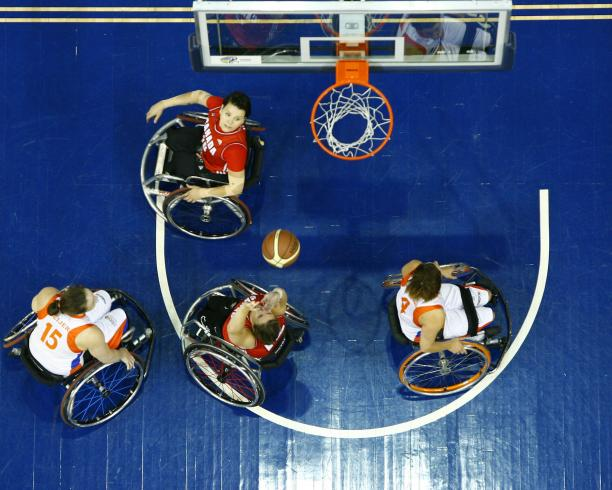 Tracey Ferguson #12 of Team Canada puts up a two pointer in Semi Final action against Team Netherlands at the 2014 Women's World Wheelchair Basketball Championships in Toronto, Canada.