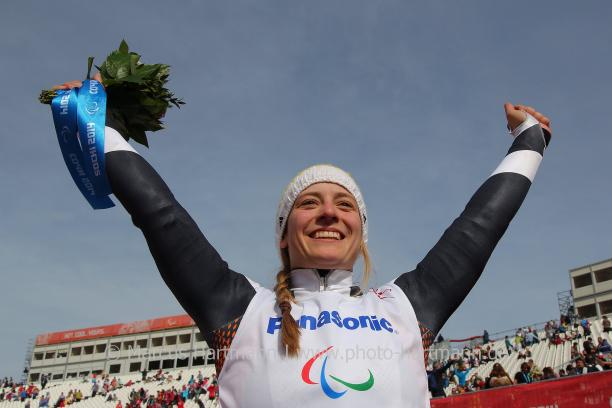 Anna Schaffelhuber, Germany celebrates her gold medal in the women's super-G