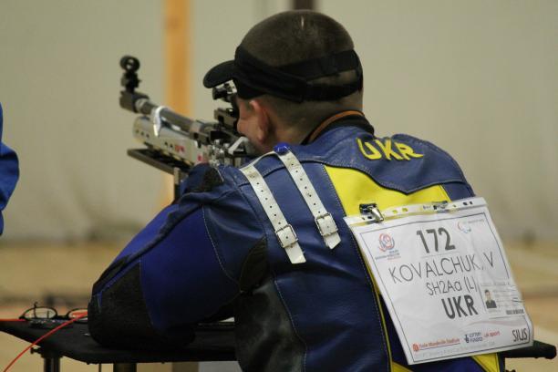 Ukraine's Vasyl Kovalchuk took gold ahead of Finnish world champion Minna Leinonen at a 2015 IPC Shooting World Cup.
