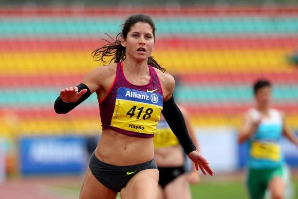Sprinting woman