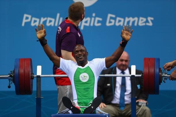 Nigeria's Yakubu Adesokan winning gold at London 2012