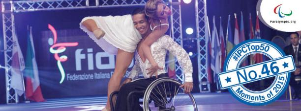 Graphic with wheelchair dance couple dancing