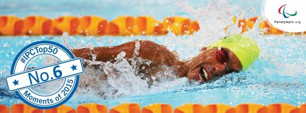 close up shot of Daniel Dias swimming and winning gold