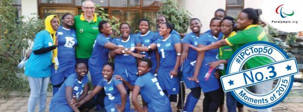 Group picture of Rwanda's women sitting volleyball team