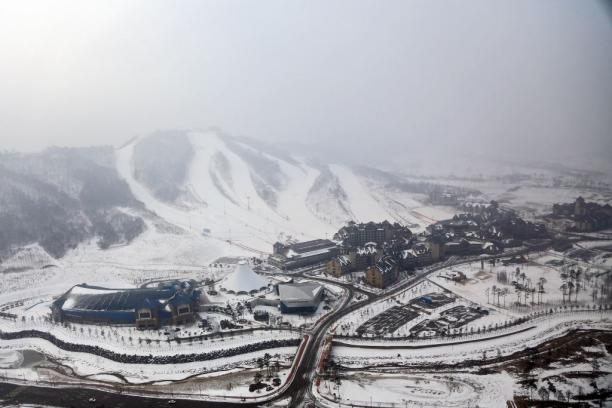 The Alpensia Resort is seen from above on February 10, 2015 in the mountain cluster of Pyeongchang, South Korea.