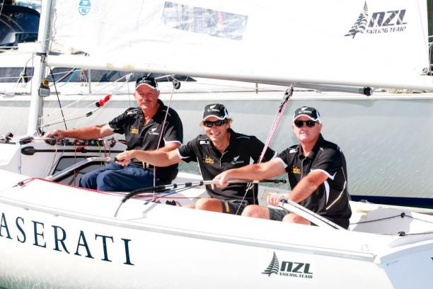 Chris Sharp, Andrew May and Richard Dodson aboard their boat during the New Zealand 2016 Summer Paralympic Team Selection Announcement at the Royal New Zealand Yacht Squadron on March 3, 2016 in Auckland, New Zealand.