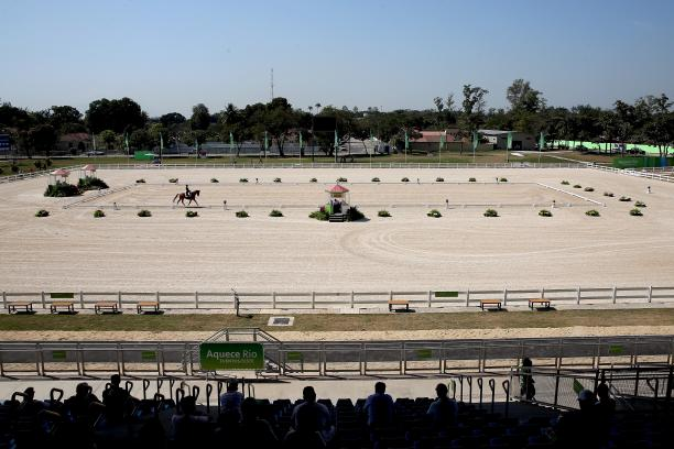 Aerial view on equestrian stadium