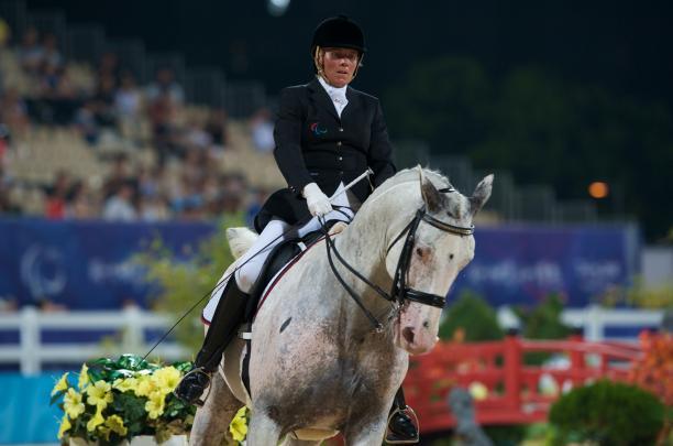 Athlete horseback riding