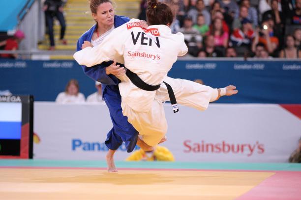 Two female judoka fighting