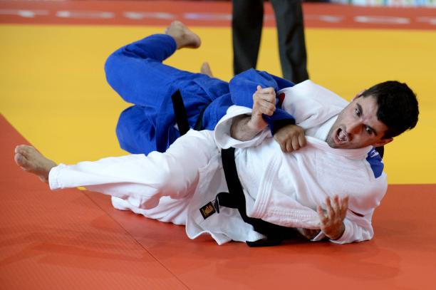 Two judoka on the mat