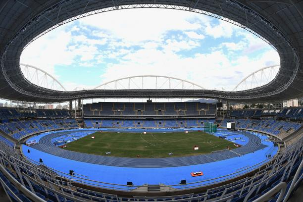 View on an empty stadium with a blue track