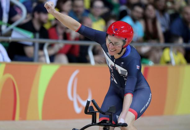 Sarah Storey of Great Britain celebrates after the womens C5 3000m individual pursuit track cycling on day 1 of the Rio 2016 Paralympic Games