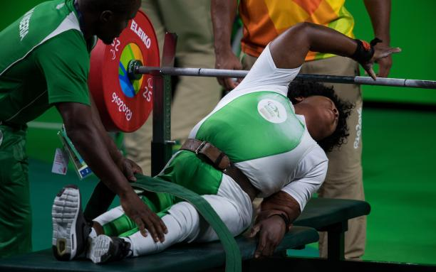 Gold Medallist Bose Omolayo NGR competes in the Women's -79 kg Powerlifting contest at the Riocentro - Pavilion 2