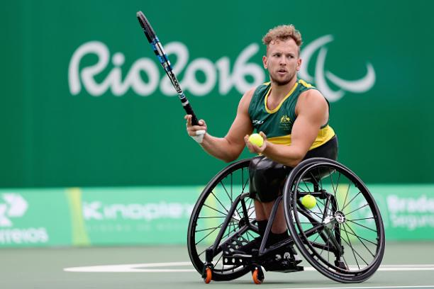 Dylan Alcott of Australia plays Andy Lapthorne in men's quad singles at the Rio 2016 Paralympic Games