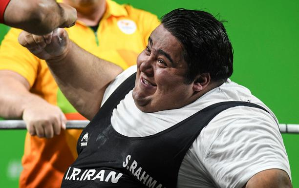 Siamand Rahman of Iran celebrates his victory on the Powerlifting - Men's +107kg Group A at Riocentro Pavillon 2