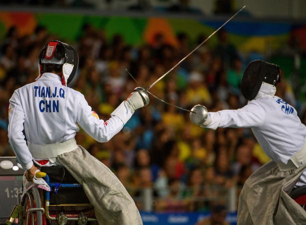 Jianquan Tian CHN (left) vs Gang Sun CHN in the Men's Individual Épée - Category A Semi-final Wheelchair Fencing in the Carioca Arena 3 at the Rio 2016 Paralympic Games.