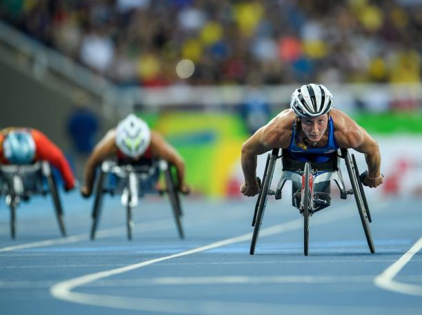 Tatyana McFadden of the USA winning the Gold Medal in the Women's 400m - T54 Final in the Olympic Stadium. at the Rio 2016 Paralympic Games.