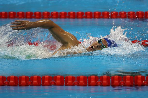 Matheus Souza of Brazil competes in the Men's 400m Freestyle - S11 at the Rio 2016 Paralympic Games.