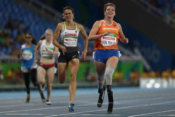 Marlou van Rhijn of Netherlands competes in the Women's 200m - T44 Fina