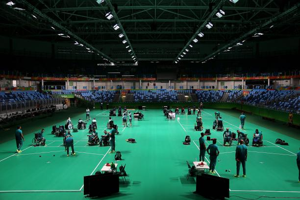 A general view during a Boccia training session at the Olympic Carioca Arena 2 ahead of the 2016 Paralympic Games in Rio de Janeiro, Brazil. (Photo by Friedemann Vogel/Getty Images)