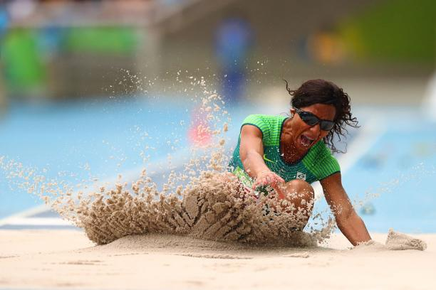 Silvania Costa de Oliveira of Brazil competes in Women's Long Jump