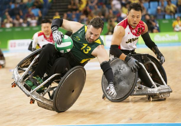 Cameron Carr playing for Australia against Japan in Wheelchair Rugby in Rio