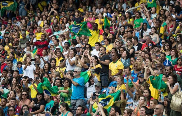 Fans cheering for Brazil at the Rio 2016 Paralympic Games.