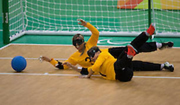 Simone Rocha and Ana Carolina Custodio (BRA) compete against USA in Goalball