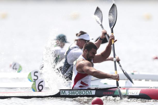 Markus Swoboda of Austria in action during the Canoe Sprint - Men's KL2 200m heat 2 at the Rio 2016 Paralympic Games.